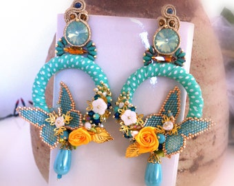 Turquoise circle earrings, colorful summer earrings, Made in Italy, maxi earrings and yellow roses, long earrings, butterflies, OOAK