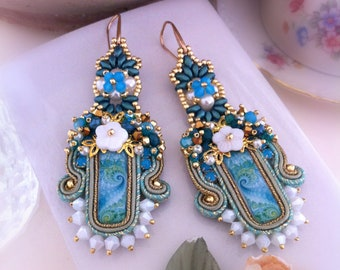 Turquoise Soutaches Earrings with handmade cabochons, long ceremony earrings, light earrings, embroidered jewellery, gift for her, OOAK