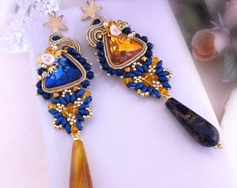 Blue and yellow earrings, soutache dangle earrings, long earrings, maxi summer earrings, ooak, drop earrings and crystals, shimmering stars