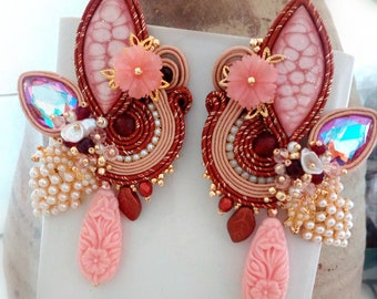 Pink and red soutaches earrings, maxi earrings, handmade cabochon, Made in Italy, soutaches jewelry, long drop earrings, OOAK