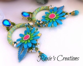Turquoise circle earrings, colorful summer earrings, maxi earrings flowers, long lobe earrings, embroidered leaves, OOAK, Made in Italy