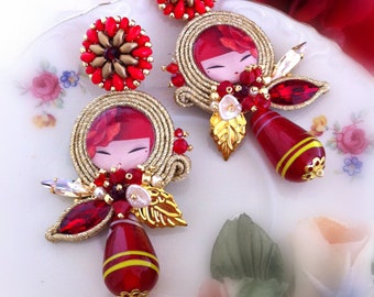 Soutaches earrings, handmade cabochon, kimmidolls, from Italy, red, with pearls, lampwork drop, long, pendants, lobe, oriental style