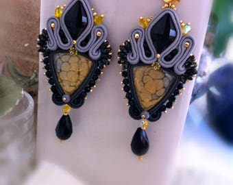 Handmade earrings, gray, black, handcrafted cabochon, pendants, with drop, pin, elegant, chic, yellow, diamond, large, refined