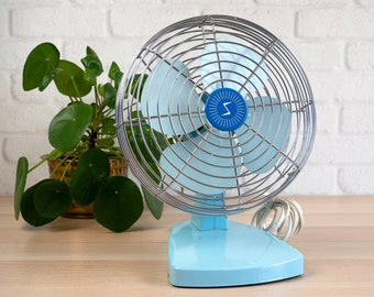 Vintage 50s Electric Fan Superior Electric Turquoise Blue Table Fan