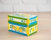 Vintage Recipe Tin, Recipe Box Blue Floral