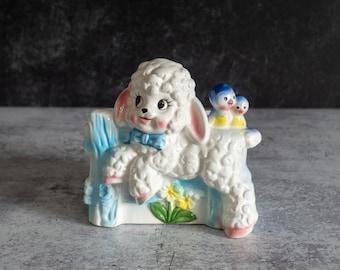 Vintage Ceramic  Lamb With Wagon Planter Lamb Garden Decor  Vintage Ceramic Planter  Succulent Planter  Nursery Decor  Easter Spring