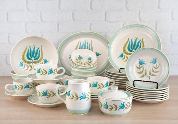 Franciscan Earthenware Tulip Time Dinnerware Set of 18 ~ Turquoise Dinnerware ~ Retro Flower