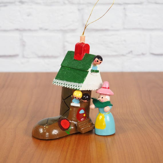 Kurt Adler Old Woman In A Shoe Wooden Ornament Mother Goose Nursery Rhyme Christmas Tree Ornament