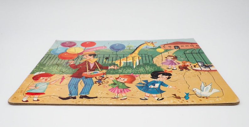 Built-Rite STA-N-PLACE Vintage Tray Puzzle Inlay No 136:29 Children at Zoo