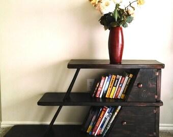 Leaning bookshelf. Unique modern vintage furniture.