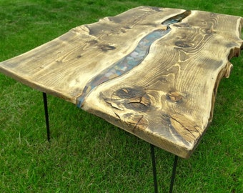 Beautiful River Stone Raw Edge Wood Slab Coffee Table OR Dining Table.  Liquid Glass Center
