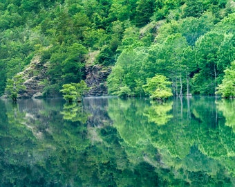 Panorama of Beaver Bend on the Mountain Fork River, Oklahoma-- Mounted and Matted, Frame-Ready Panoramic Photograph