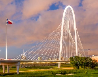 Panorama of Dallas, Texas & the Margaret Hunt Hill Bridge From Trinity Overlook Park -- Mounted and Matted, Frame-Ready Panoramic Photograph