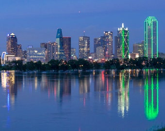 Panorama of Dallas, Texas and the Swollen Trinity River -- Mounted and Matted, Frame-Ready Panoramic Photograph