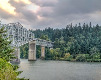 Panorama of the Bridge of the Gods on the Columbia Gorge, Washington and Oregon -- Mounted and Matted, Frame-Ready Panoramic Photograph