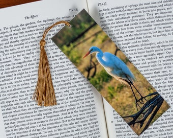 Laminated bookmark of a Great Egret with a Brown Background