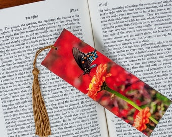 Colorful Laminated bookmark of a Swallowtail Butterfly Against a Red Bokeh Background