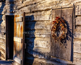 Welcome Home - Country Home - Log Cabin - Wreath - Open Door  -- Prints, Matted and Mounted, Framed, Canvas, Metal