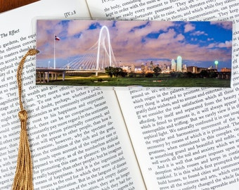 Laminated bookmark of the Dallas, Texas Skyline Just After Sunset