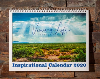 2020 wall calendar with landscape photos & inspiring quotes each month