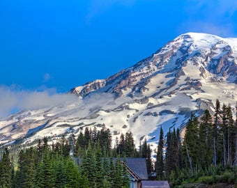 Panorama of Mount Rainier From Paradise -- Washington -- Mounted and Matted, Frame-Ready Panoramic Photograph