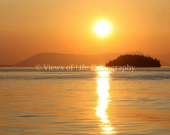 Beautiful Sunset in the San Juan Islands - Washington - Northwest - Ocean  -- Prints, Matted and Mounted, Framed, Canvas, Metal