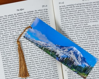 Laminated bookmark of beautiful panorama of Mount Rainier in Washington.