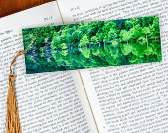 Laminated bookmark of the Beaver Bend State Park Shoreline Reflecting in the Mountain Fork River