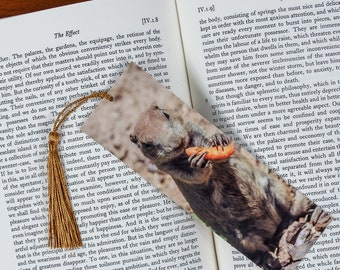 Laminated bookmark of a Mama Prairie Dog Eating a Carrot