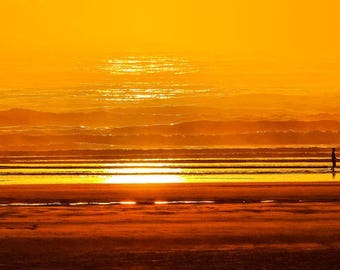 Panorama of Sunset Over the Beach at Yachats Inlet -- Oregon -- Mounted and Matted, Frame-Ready Panoramic Photograph