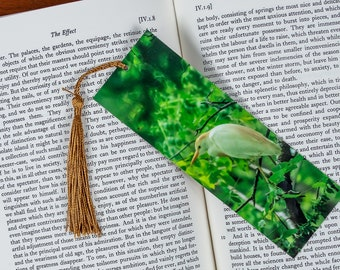 Laminated bookmark of a Cow Egret with a Green Background