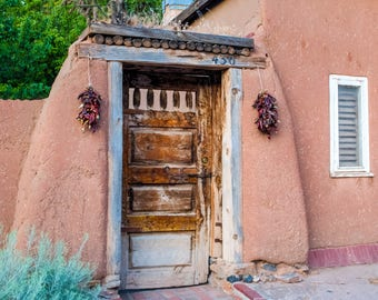 A Hacienda Entry Door in Santa Fe, New Mexico   -- Prints, Matted and Mounted, Framed, Canvas, Metal