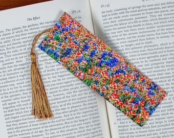 Laminated bookmark of a Field of Indian Paintbrush and Bluebonnet Flowers