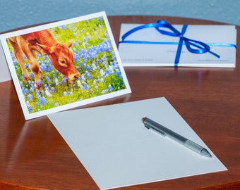 Calf in a Field of Bluebonnets - Notecards