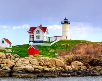 Panorama of Cape Neddick (Nubble) Lighthouse, Maine - Northeast - Ocean -- Frame-Ready, Mounted and Matted Panoramic Photograph