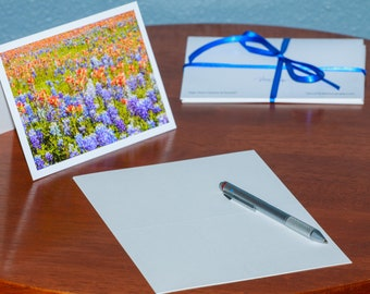 A Field of Bluebonnets and Indian Paintbrush - Notecards