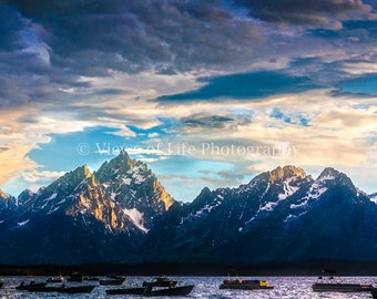 Storm Breaking over the Teton Mountains in Wyoming - Lake Jackson - Western  -- Prints, Matted and Mounted, Framed, Canvas, Metal