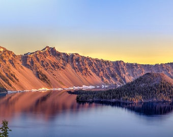 Panorama of Crater Lake in Oregon -- Mounted and Matted, Frame-Ready Panoramic Photograph