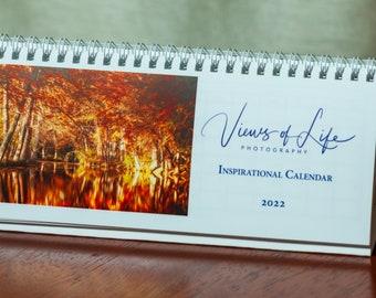 2022 Desk calendar with landscape photos & inspiring quotes each month -- small footprint -- flip calendar