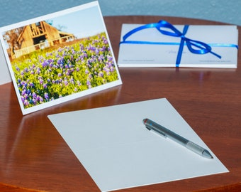 A Field of Bluebonnets and a Dilapidated Old Barn - Notecards