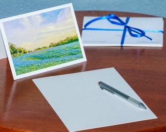 Sunset on a Field of Bluebonnets - Notecards