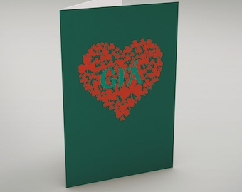 """Grá - in green - Irish language Greeting Card translates as """"Love"""" perfect for a Valentine or wedding card!"""