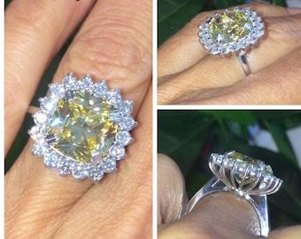 38e277f5c Yellow Diamond Engagement Ring 1.04ct Genuine Diamond Halo Yellow Cushion  Cut CZ Ring Vintage Gold Anniversary Pristine Custom Rings