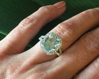 Aquamarine Enement Rings | Aquamarine Engagement Ring Etsy