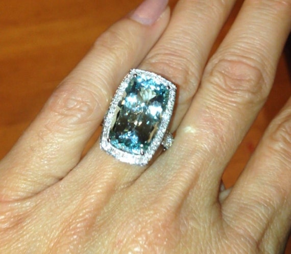 Aquamarine Engagement Ring Long Cushion Cut 9ct Ring 1 76ct Etsy