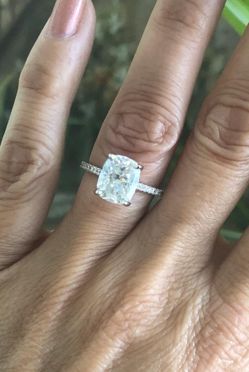 Elongated Cushion Cut 3 30ct Harro Gem Crushed Ice Moissanite Ring 38ct Diamonds White Gold Pristine Custom Rings
