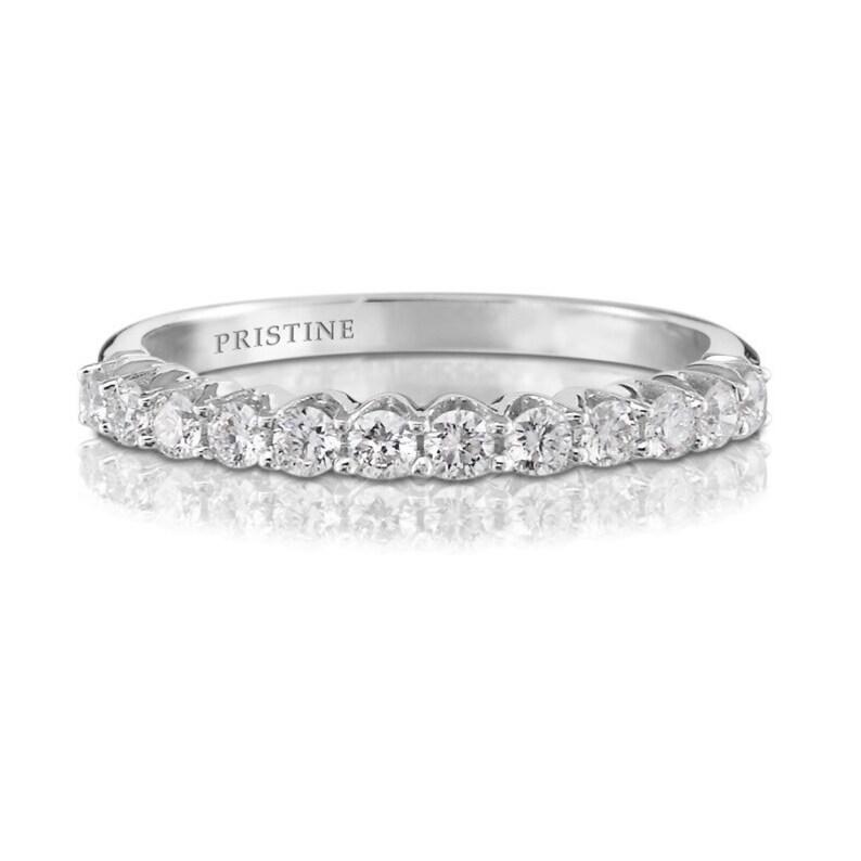 c0fdacc810a2f 18k White Gold Diamond Wedding Band Round .34ct FVS2 Diamonds Prong Set  Ring Diamond Band Wedding Band Anniversary Pristine Custom Rings