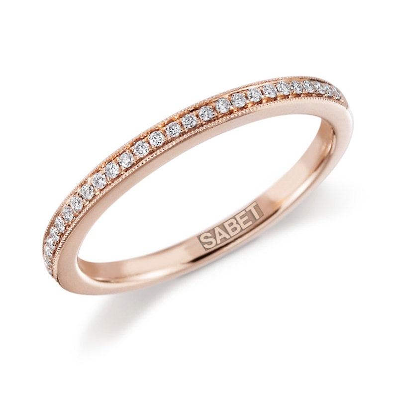 54f9b7ae66267 18kt Rose Gold Diamond Wedding Band .11ct Natural Diamonds Anniversary Band  Filigree Mill Grain Vintage Wedding Pristine Custom Rings