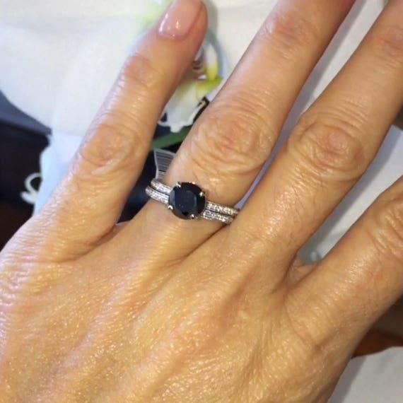 Diamond Wedding Ring Set Round Black Moissanite Ring Natural Etsy
