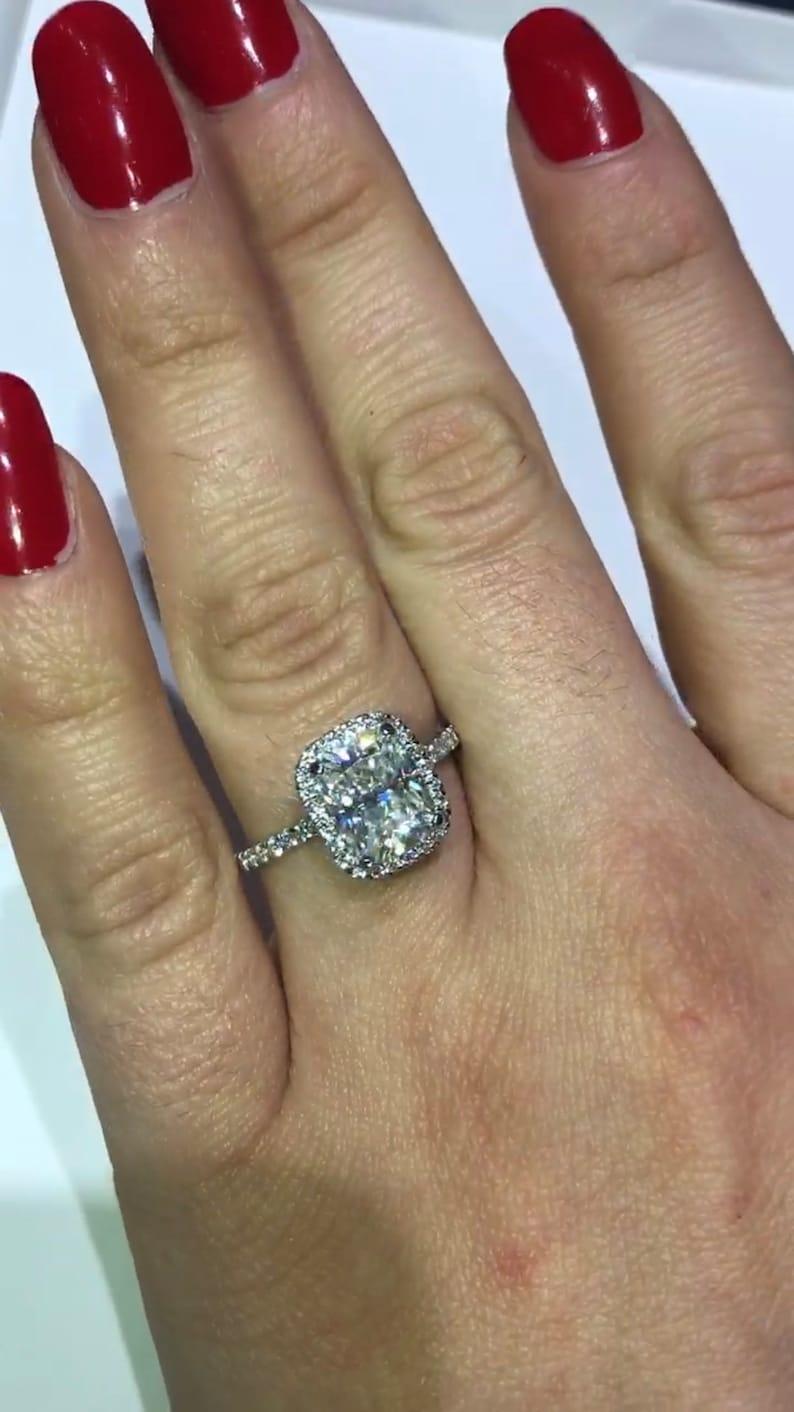 Elongated Cushion Cut 2 70ct Harro Gem Moissanite Ring 70ct Diamonds Pristine Custom Rings Moissanite Diamond Engagement Ring